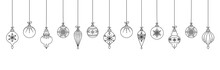 Hand Drawn Christmas Ball Hanging Decoration On White Background