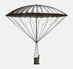 Historic frameless parachute by André-Jacques Garnerin from 1797, descending. Illustration after an etching from the early 19th century. Editable in layers