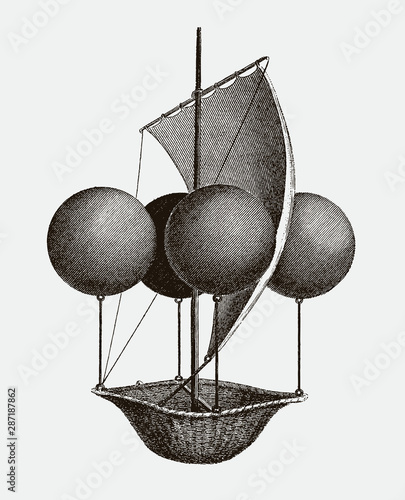 Historic flying ship, an aeronautic machine by Francesco Lana Terzi from 1670. lllustration after an engraving from the early 19th century. Editable in layers