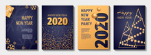Set Of Flyer, Poster, Banner, Brochure Design Templates For Happy New Year 2020. Blue And Gold Collors. Christmas Balls, Abstract Christmas Tree, Snowflakes, Gift Box. Perfect For Invitation, Card.
