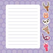 Card Design With Kawaii Deer, Owl, Panda, Giraffe, Elephant, Unicorn, Purple Pastel Colors Polka Dot Lined Page Notebook, Template, Blank, Planner Background. Vector