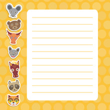 Card Design With Kawaii Mouse Bear Bull Bat Horse Raccoon Cat, Orange Pastel Colors Polka Dot Lined Page Notebook, Template, Blank, Planner Background. Vector