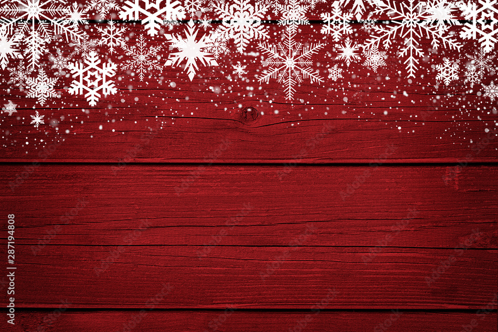 Fototapety, obrazy: Red Christmas winter background with snowflakes on wood