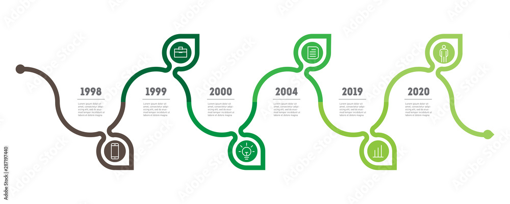 Fototapeta Horizontal infographics, research in science and Green technology. The sustainable development and growth of the eco business. Timeline of trends. Business concept with 6 options, parts. Vector.