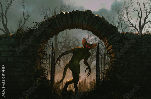 Valokuvatapetti The gates is open and monster is releasing,Halloween scene,3d illustration