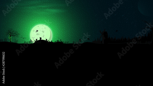 Fototapeta Halloween background, full green moon, dark forest, cemetery, zombie, witches, werewolves, ghosts and an old abandoned mill