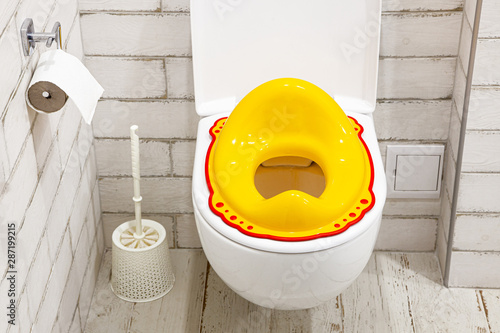 Canvas Print Yellow lid for toilet seat for children