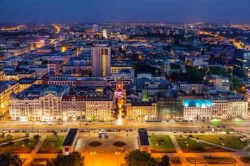 Panel Szklany Podświetlane Warszawa Warsaw Cityscape At Night In Poland