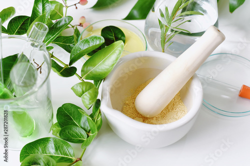 Alternative herbal medicine, Mortar with healing botanical herbs, Natural organic botany and scientific glassware, Natural skin care beauty products, Research and development concept.