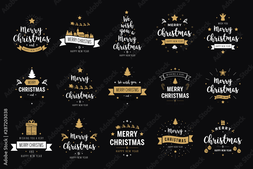 Fototapeta Merry Christmas. Happy New Year, typography lettering badge emblems quotes set collection. Vector logo design for postcard, invitation, greeting card,  poster