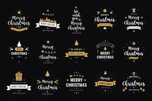 Merry Christmas. Happy New Year, Typography Lettering Badge Emblems Quotes Set Collection. Vector Logo Design For Postcard, Invitation, Greeting Card,  Poster
