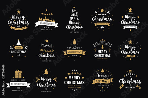 Obraz Merry Christmas. Happy New Year, typography lettering badge emblems quotes set collection. Vector logo design for postcard, invitation, greeting card,  poster - fototapety do salonu