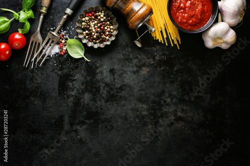 Fototapeta Italian food background with ingredients obraz