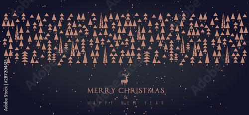 Buon Natale e felice anno nuovo, alberi con elementi geometrici ripetuti