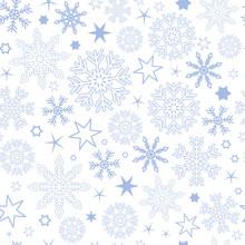 Seamless Pattern Blue Snowflake Background Vector Illustration EPS10