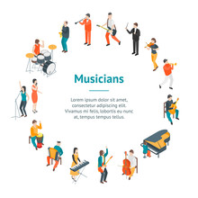 Characters Different Musicians People Banner Card Circle 3d Isometric View. Vector