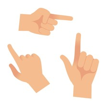 Hand In Forefinger Icons. Holding Pointing Hands Drawing Gesture To Object Isolated Vector Outline Set