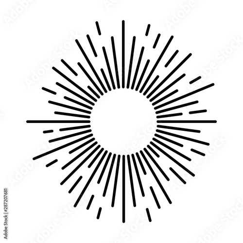 Obraz Sunbeam lines. Drawn hand motion starburst or fireworks explosion with beam rays and sparks for logo design vintage vector illustration - fototapety do salonu