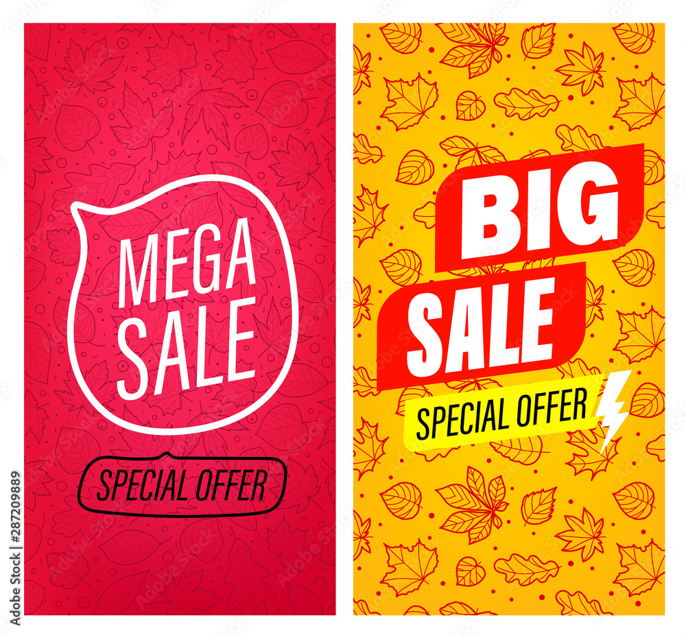 Fototapety, obrazy: Big sale and Mega sale vector banners clip-art