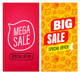 Big sale and Mega sale vector banners clip-art