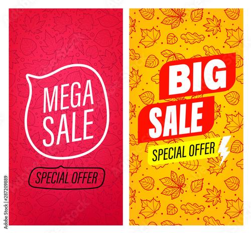 Big sale and Mega sale vector banners clip-art