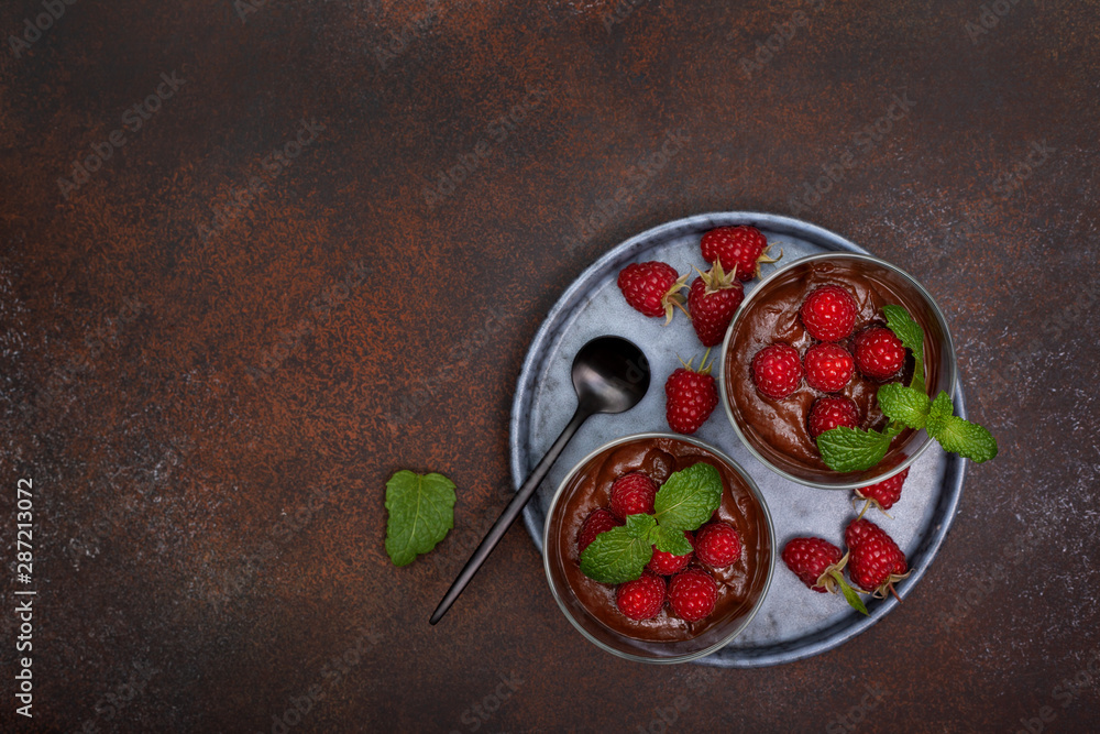 Fototapety, obrazy: chocolate mousse with raspberries