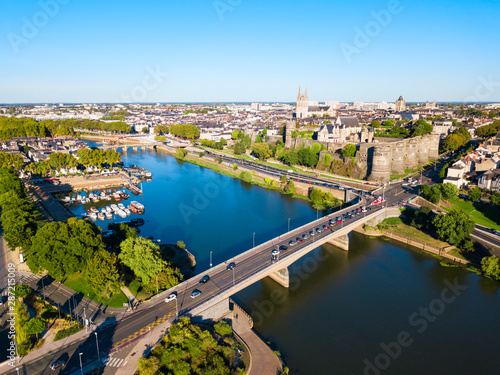 Angers aerial panoramic view, France Canvas Print