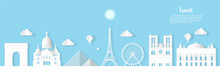 Travel French Architecture Of Paris Landmark In France Cityscape With Panoramic Views , Origami Style Paper For Travel Postcards, Vector Illustration.