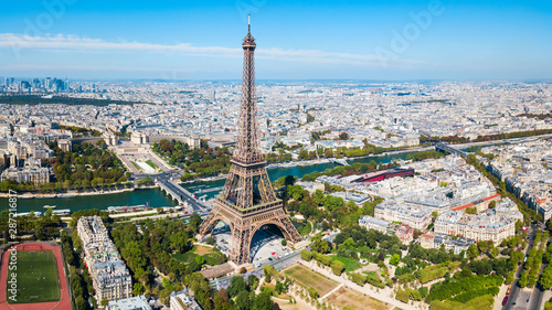 Eiffel Tower aerial view, Paris - 287216817