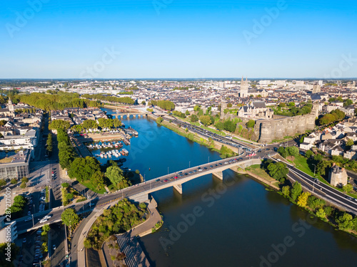 Fotografie, Tablou  Angers aerial panoramic view, France