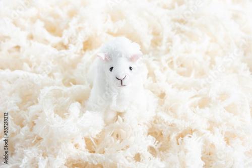Obraz ふわふわな毛糸と羊のマスコット - fototapety do salonu