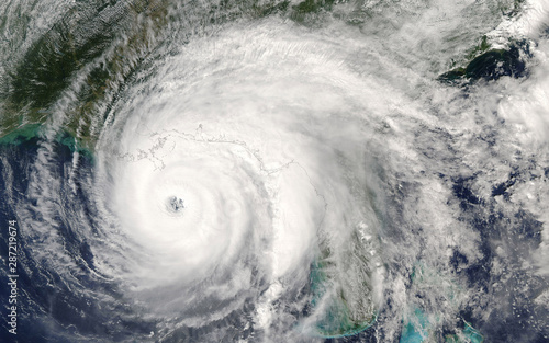 Category 5 super typhoon from outer space view. The eye of the hurricane. Some elements of this image furnished by NASA