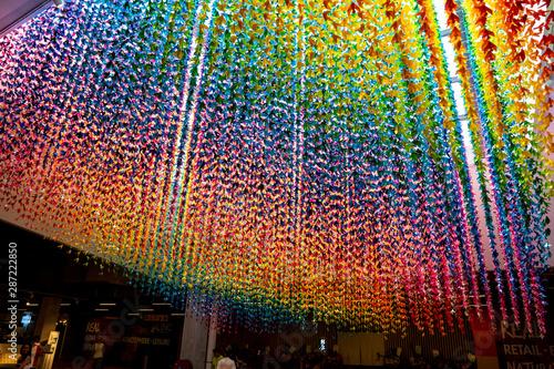 Photo Kuala Lumpur, Malaysia-May 1 2019 : Beautiful rainbow origami cranes fold paper