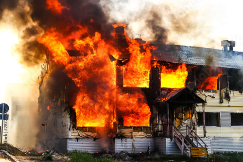 Burning house Canvas Print