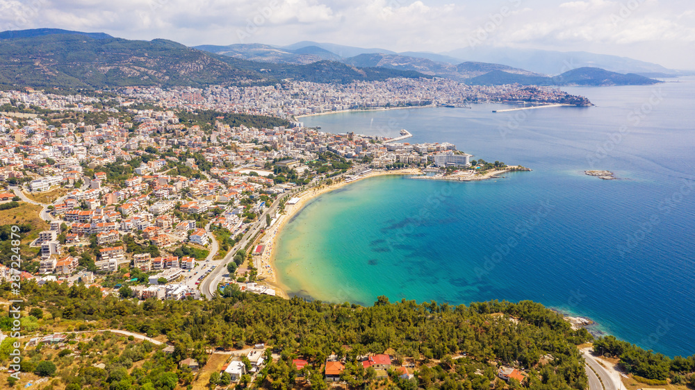 Fototapety, obrazy: Aerial view the city of Kavala in northern Greek.