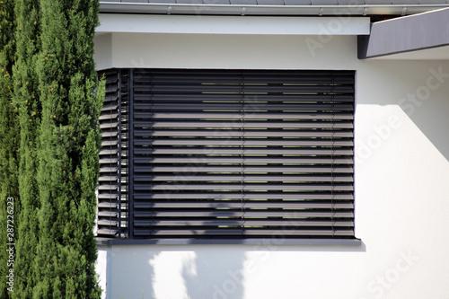 Obraz na plátně Fenster mit moderner Jalousie