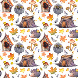 Fototapeta Fototapety na ścianę do pokoju dziecięcego - Seamless pattern with cute owls, hedgehogs, birdhouses, tree stumps, mushrooms, feathers and autumn leaves. Watercolor illustration isolated on white background.