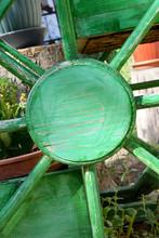 Wheelbarrow Wheel In The Garden