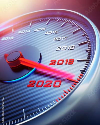 Fotografia, Obraz  Tachometer Jahreswechsel 2019 2020