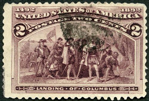 USA - 1922: shows Landing of Christopher Columbus (1451-1506), 1922 Tapéta, Fotótapéta