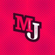 MJ Monogram Vintage Halftone Sticker Logo Template