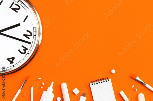 Part of analogue plain wall clock on trendy orange background with white stationery items Fototapet