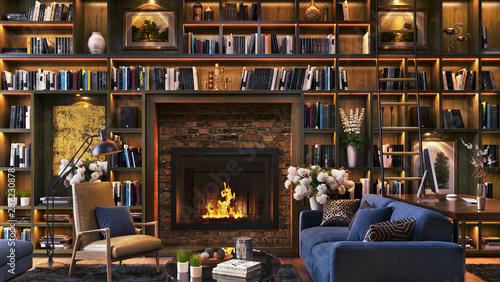 Photo Luxury fireplace and large library with desk