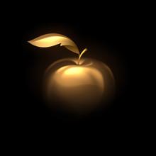 Gold Apple On Black Background