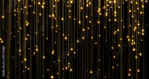 Obraz Golden glitter rain, bright light shine on gold threads. Glowing glittering lights curtain, shiny sparkling light and shimmer particles - fototapety do salonu