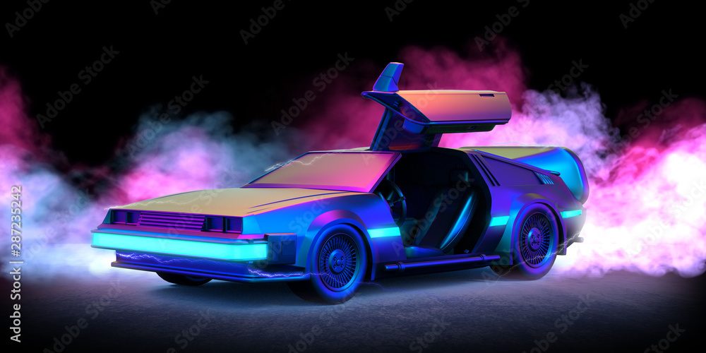 Fototapety, obrazy: Future car retro 80th illustration with blue and pink smoke and black background