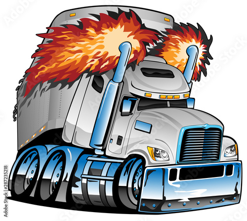 Photographie  Semi Truck Tractor Trailer Big Rig, White, Flaming Exhaust, Lots of Chrome, Cart