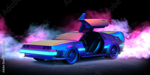 Fototapeta Future car retro 80th illustration with blue and pink smoke and black background obraz