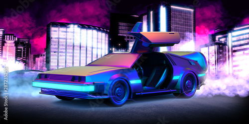 Fototapeta Future car, retro 80th illustration with blue and pink smoke and cyberpunk city in the background obraz