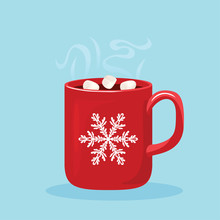Steaming Hot Chocolate With Marshmallows In Red Cup With White Snowflake. Hot Winter Drink And Piece Of Chocolate Isolated On White Background. Vector Illustration Of Sweet Cocoa In Cartoon Flat Style